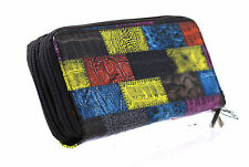 Womens Ladies Envelope Wallet Purse Multi color Leather Style Patch Brown