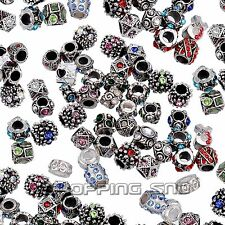50pcs MIX Crystal Rhinestone Tibetan Beads Rondelle Spacer Fit Charms Bracelets