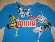 PUMA ☯ Jungen Kurzarm T-Shirt ☯ Sneaker Motiv ☯ blau türkis ☯ Gr. 164 ☯ SOMMER