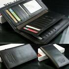 Men's Black Long Leather Wallet Pockets Money Purse ID Credit Card Clutch Bifold