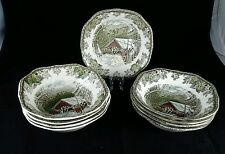 "JOHNSON BROTHERS FRIENDLY VILLAGE (9) 6 1/8"" SQUARE CEREAL BOWLS ENG. FREE SHIP"