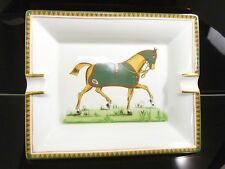 100% Authentic Hermes Paris Porcelain Cigar Ashtray Horse Print E226