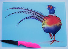 Unique Blue Glass Chopping Board with a *PHEASANT*  design by artist Maria Moss