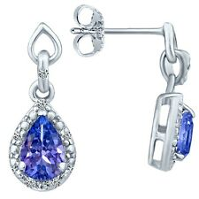 1.20 tcw Pear Cut Natural Tanzanite & Round Diamond Drop Earrings 14k White Gold