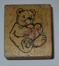 Teddy Bear Rubber Stamp Heart Love Paws Stuffed Toy Wood Mounted