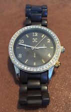 Women's Watch Brown Plastic Band Rhinestones Oversize Face New Battery