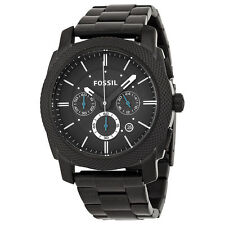 Fossil Mens Fs4552 Machine Black Stainless Steel Chronograph Watch New