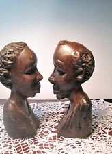 Vintage African Carved Man & Woman Sculpture Ebony Mahogany Black Couple Busts