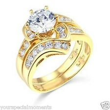 14k Yellow Gold SOLID Wedding Engagement Ring and Wedding Band 2 Piece Set