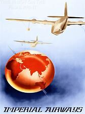 PRINT POSTER TRAVEL AIRLINE ADVERT PLANE GLOBE WORLD MAP IMPERIAL UK NOFL1294