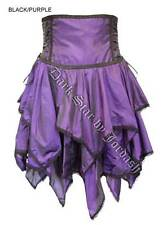 Ladies Purple High Waist Gothic Steampunk Medieval Victorian Skirt Size 10-16
