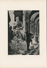 Antique Old Vintage Art Print  Italian History Artist Michael Angelo Collonna