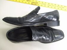 Ermenegildo Zegna black leather dress shoes Italy size 9.5 Vibrom slip on loafe