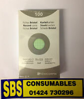 """RECORD CARDS GREEN SQUARED INDEX CARDS 75x125mm (5x3"""") PACK 100 -  13241E"""