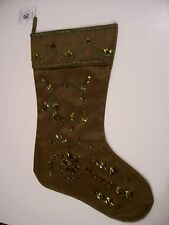 GREEN BEAD SEQUIN & JEWELS FANCY CHRISTMAS STOCKING MANTLE DECORATION