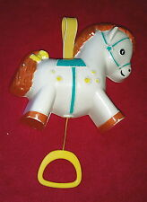 Vtg FISHER PRICE Pull-A-Tune MUSIC BOX Crib BABY TOY 1968  Japan CAROUSEL PONY