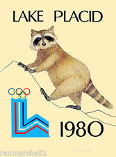 1980 Lake Placid New York Olympic Sports American Travel Advertisement Poster