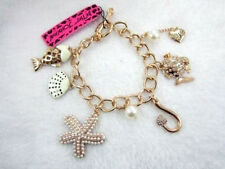 bj3p Betsey Johnson Gold Plated Starfish Fish & Sea Shell Charm Bracelet w Tags
