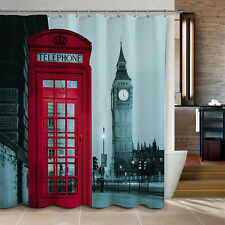 "72"" London Big Ben Pattern Shower Curtain Bathroom Waterproof Fabric + 12 Hooks"