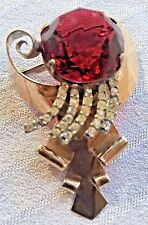 Vintage Large Chunky Sparkly Bright Red & Rhinestone Sterling Gold Wash Pin