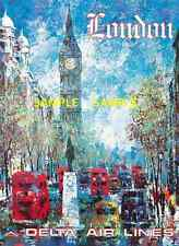 """Delta Air Lines 11"""" x 17""""  Travel Poster  - [ LONDON ]  -"""