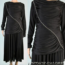 VTG 80s Cocktail Evening Black great gatsby drop waist beaded ruched dress S M