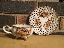 Antique TRIMONT CUP and SAUCER Floral Lattice Pattern 3 Footed Tea Cup Saucer