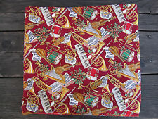 """100% Cotton Sewing Fabric Christmas Horns Drums Keyboard Violin 2 yds + 24"""" x 44"""