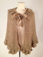 Women's Betsy Johnson Gold Shimmer Knitted Ruffle Cape One Size Fits All
