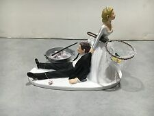 Fish Fishing Humor Funny Bride Groom Wedding Cake Topper Bud Beer Pole Tub Ice