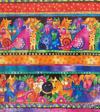 ONE YD ~Felines & Canines~ Laurel Burch Bright Border Fabric Dogs & Cats 2005