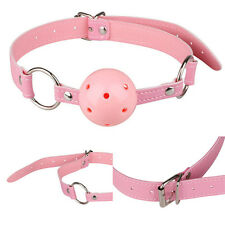 Adjustable Pink PU Leather Hollow Gagged Mouth Ball Gag BDSM Adults Fun Sex Toys