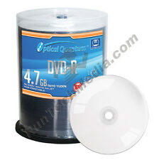 100 Optical Quantum 16x 4.7GB DVD-R Glossy White Inkjet HUB Printable Blank Disc