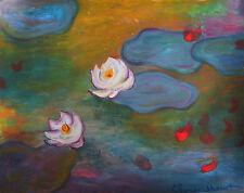 Rare Original, Tempera painting, signed Claude Monet , Monet, Renoir, Degas