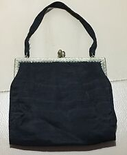 Vintage retro art deco 1930s black silk cream inside ormulu evening bag handbag