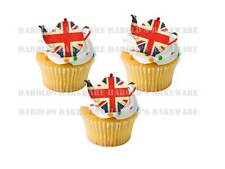 24 x Queens 90th 90 Birthday Union Jack UK Flag STAND UPS Edible Cup Cake Topper