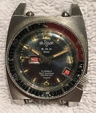 Vintage ZRC Le Jour Day Date Diver 17J Automatic Mens Watch Made France RARE