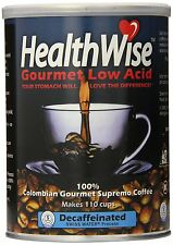 Healthwise Low Acid Columbian Gourmet Supremo Decaffeinated Coffee, 12 Ounce , N