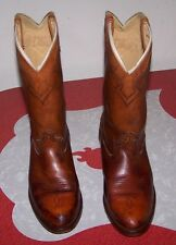 VINTAGE DINGO DISTRESSED MEN'S COWBOY BOOTS 70s 80s BROWN SIZE 11D - MADE IN USA