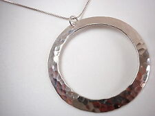 Hammered Circle Pendant 925 Sterling Silver Corona Sun Jewelry round