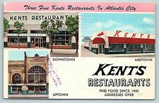Postcard NJ Atlantic City Multiview Kents Restaurants Up Mid & Downtown  B7