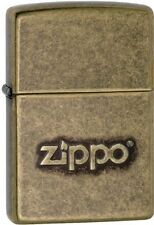 Zippo 28994, Stamped Logo, Antique Brass Finish Lighter, ***6 Flints/Wick***