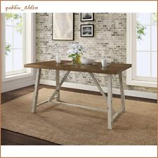 Rustic Dining Table Farm House Distressed Metal Wood Top Vintage Industrial