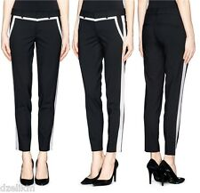 NWT $285 Vince Wool Stretch Contrast Trim Cropped Tuxedo Pants Size 2