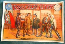 Uncle Tom's Cabin -  Racist1890's Theatrical ORIGINAL Poster on Linen - Eliza
