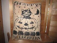 Primitive Stenciled Pillow - Happy Halloween - black cat in pumpkin