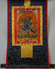 "14"" SILK BROCADED GOLDEN WOOD SCROLL TIBETAN THANGKA! VAJRAPANI, FORCE OF BUDDHA"