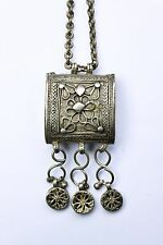 Solid silver Yemen? Islamic solid silver prayer amulet on brass chain antique