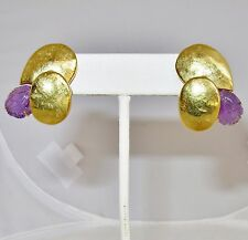 FULVIO MARIA SCAVIA 18K Yellow Gold Omega Earrings with Carved Amethyst  (10.7g)