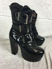 Magic Zapatos Londres 6 negro patente Goth Punk Sexy Botas de plataforma Grunge Stripper 23